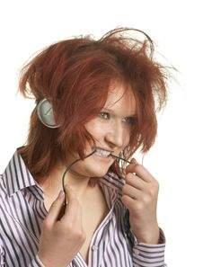 Listens To Music Stock Images