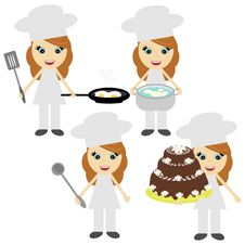 Free Four Girls Cook On White Royalty Free Stock Images - 18961929