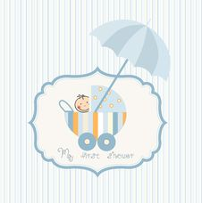 Baby Shower Card With Carriage Stock Photos