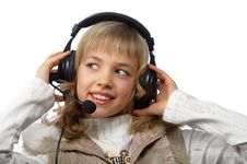 Free Blond Teenage Girl In Headphones Royalty Free Stock Images - 18962939