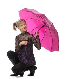 Free Pretty Girl With Pink Umbrella Royalty Free Stock Photos - 18963078