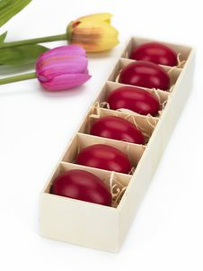 Free Red Eggs And Tulips Stock Photo - 18963080