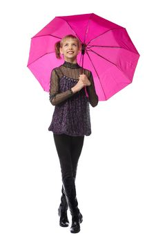 Free Pretty Girl With Pink Umbrella Royalty Free Stock Photo - 18963085