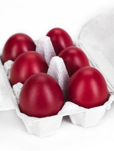 Free Red Eggs In A Cardboard Stock Photos - 18963103