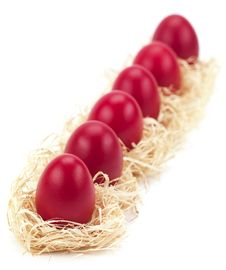Free Red Eggs In A Row Royalty Free Stock Photography - 18963127