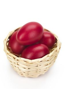Free Red Eggs In Wicked Basket Stock Images - 18963244