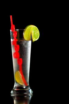 Drink With Fresh Lime And Red Straw Stock Photo