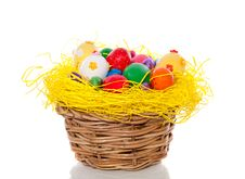 Free Easter Eggs In Straw Basket Royalty Free Stock Photos - 18965188
