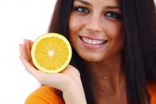 Free Orange In Woman Hands Royalty Free Stock Images - 18965349