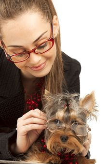 Free Woman With Yorkshire Terrier Stock Image - 18965851