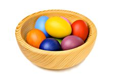 Free Colorful Easter Eggs In Wooden Bowl Royalty Free Stock Photography - 18965897