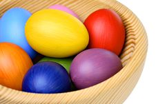 Free Colorful Easter Eggs In Wooden Bowl Royalty Free Stock Images - 18965949