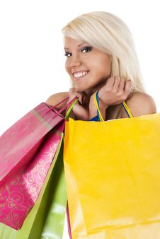Free Portrait Of Stunning Young Woman Carrying Shopping Stock Photo - 18965960