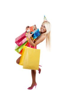 Free Young Beautiful Woman Carryin Birthday Gifts And S Royalty Free Stock Photos - 18965968