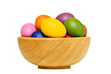 Free Colorful Easter Eggs In Wooden Bowl Royalty Free Stock Photography - 18965997
