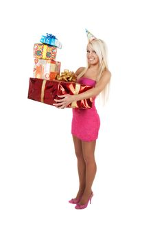 Free Young Beautiful Woman Carrying Stack Of Festive Bi Stock Image - 18966011