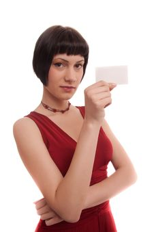 Elegant Girl With Business Card Stock Images
