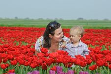 Free In Tulip Field. Mother With Son In Tulips Field Stock Photography - 18966872