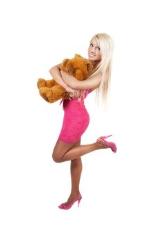 Young Beautiful Blonde Woman With Teddy Bear Stock Photo