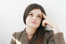 Free Beautiful Young Woman Thinking Stock Photo - 18966890