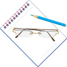 Glasses And Notepad With Pencil Stock Photography
