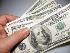 Free Hundred Dollar Bills And Hand. Stock Photo - 18967800