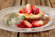 Fruit Tart With Pudding Stock Photography