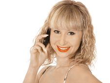 Free Blonde Woman With Phone Stock Images - 18969324