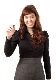 Free Elegant Business Woman Writing With A Black Pen Royalty Free Stock Photo - 18969365
