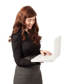 Free Attractive Business Woman With Laptop Royalty Free Stock Image - 18969366