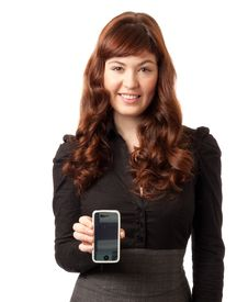 Free Woman Showing Display Of Her New Touch Mobile Stock Image - 18969411