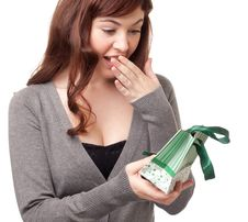 Free Surprised Woman Receiving A Present Royalty Free Stock Photo - 18969465