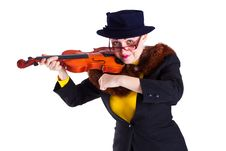 Free Girl Dressed As An Old Lady Playing The Violin Royalty Free Stock Photo - 18969725