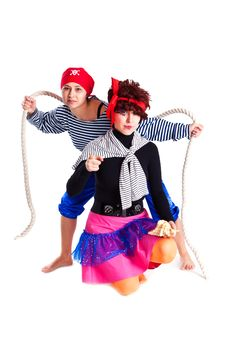 Free Two Girls Dressed As Pirates Stock Photography - 18969742