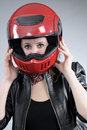 Free Young Motorcyclist Arranging Helmet Royalty Free Stock Images - 18975009