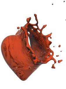 Free Orange Liquid Heart Strike Holed Royalty Free Stock Images - 18970069