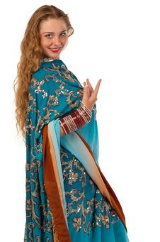 Free Beauty Girl Posing In Blue Oriental Indian Costume Royalty Free Stock Photos - 18970258