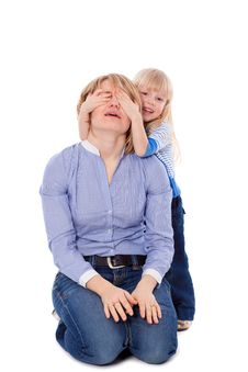 Free Child Close Her Mother Eyes Stock Photography - 18970912