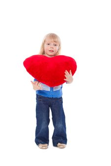 Free Little Girl With Red Heart At Hands Royalty Free Stock Photos - 18970928