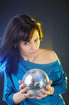 Portrait Of Young Woman With Disco Ball Stock Photos
