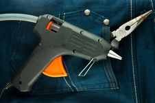 Free Blue Jeans And Tools In Pocket Stock Photography - 18971332