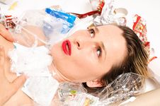 Free Rubbish Poured On Woman Stock Images - 18971744
