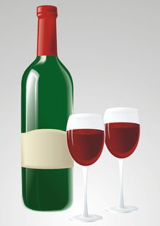Free Green Wine Bottle And Glasses Royalty Free Stock Photography - 18972007