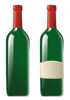 Free Two Green Wine Bottle Royalty Free Stock Images - 18972009