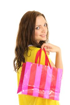 Free Happy Woman With Shopping Bag Royalty Free Stock Photos - 18972258