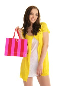 Free Happy Woman With Shopping Bag Royalty Free Stock Image - 18972276
