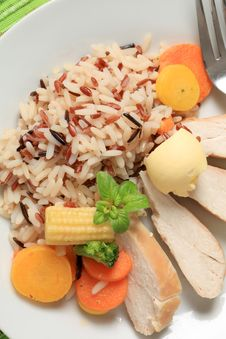 Chicken Meat With Mixed Rice And Vegetables Royalty Free Stock Image