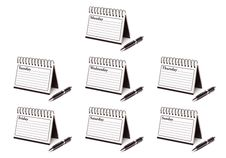Days Of The Week Spiral Note Pads And Pen Stock Photos