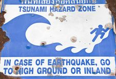 Free Old Tsunami Warning Sign. Stock Photography - 18974732