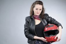 Free Motorcyclist Girl Posing Royalty Free Stock Photography - 18974797